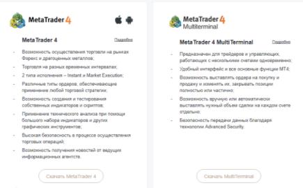 Для торговли предлагаются различные платформы в зависимости от того, на какой результат рассчитывает трейдер.