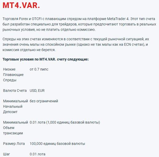 Условия счета MT4.VAR